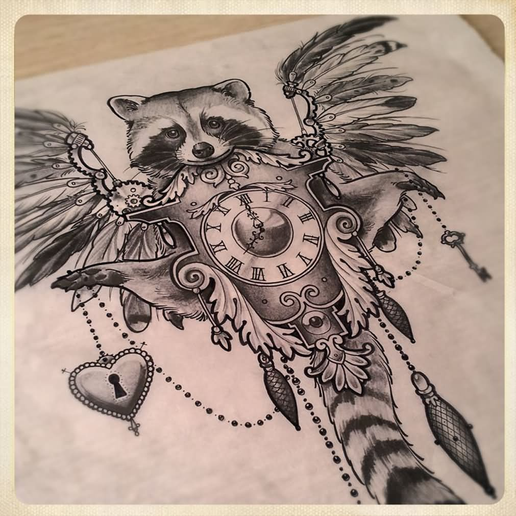 black and grey raccoon with clock and wings tattoo design by sake karampetsos. Black Bedroom Furniture Sets. Home Design Ideas
