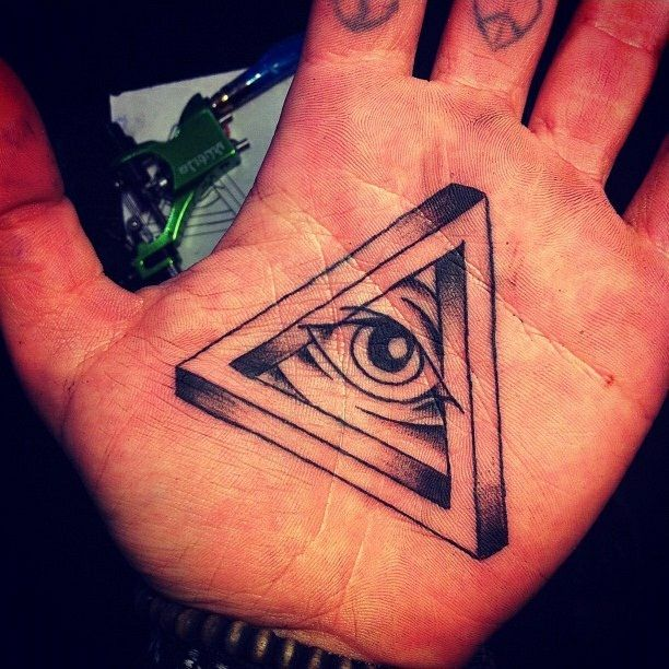 All On The Illuminati: Black Ink Illuminati Eye Tattoo On Hand Palm