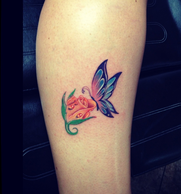 6e6af371c Blue Butterfly And Rose Bud Tattoo On Leg