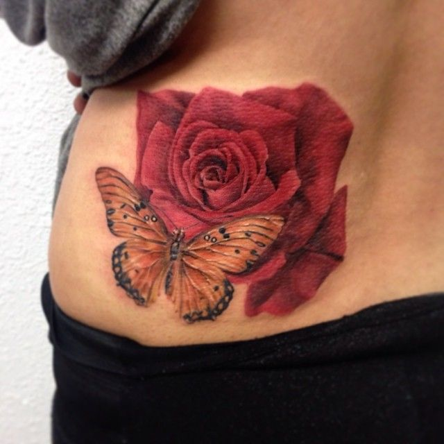 651a41504 37+ Inspiring Butterfly And Rose Tattoos