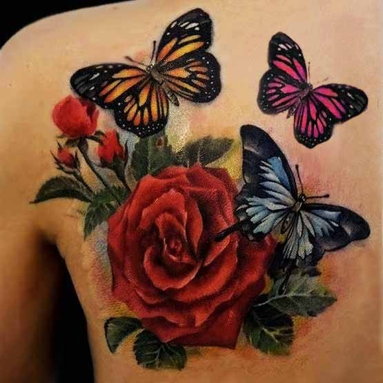 f613160f6 Color Flower And Butterfly Tattoo On Left Back Shoulder