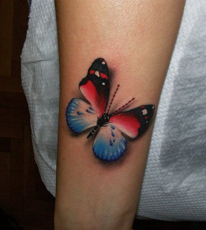 Colored 3D Butterfly Tattoo On Left Sleeve