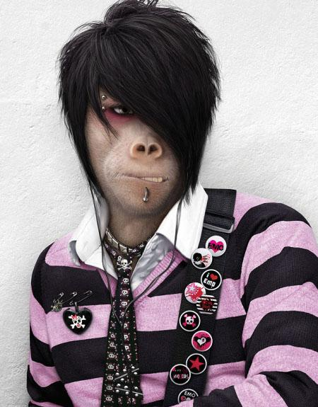 Funny Emo Monkey Face Picture