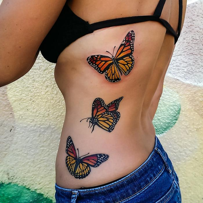 3303dc081 Girl Rib Side Monarch Butterfly Tattoos