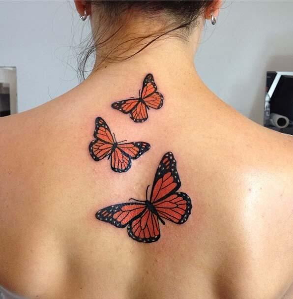 Small 3d Monarch Butterfly Tattoo On Girl Upper Shoulder