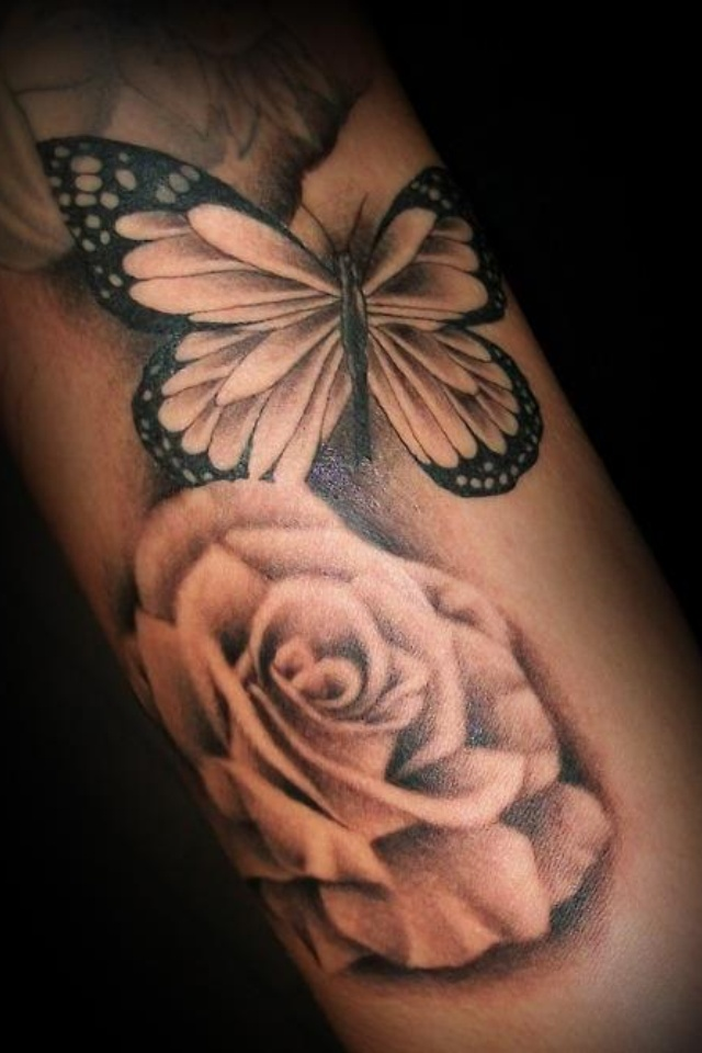37 inspiring butterfly and rose tattoos - Tatouage de papillon ...