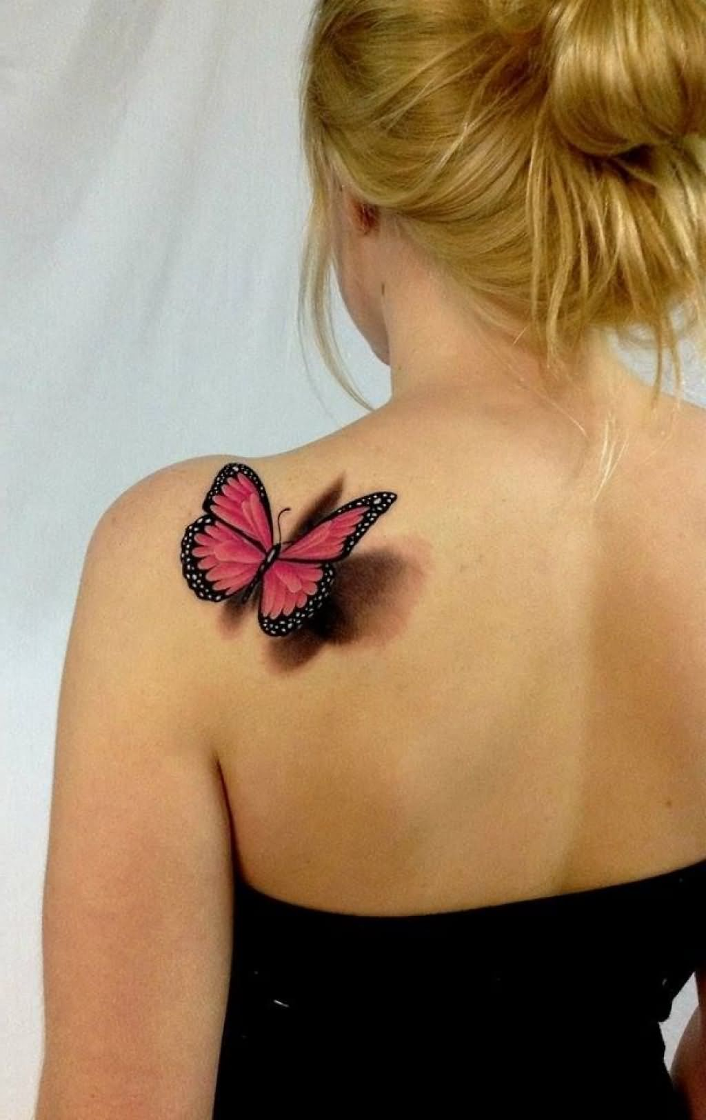 Incredible 3D Red Butterfly Tattoo on Back Shoulder