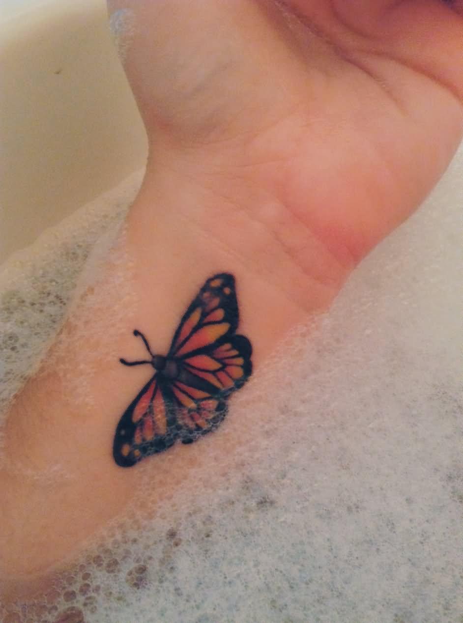Watercolor Butterfly Tattoo On Wrist