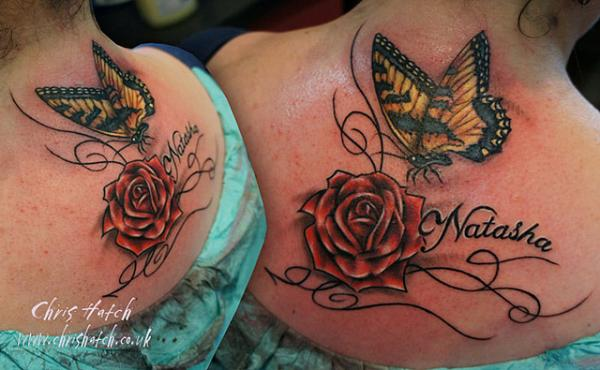 37+ Inspiring Butterfly And Rose Tattoos Yellow Rose With Butterfly Tattoo