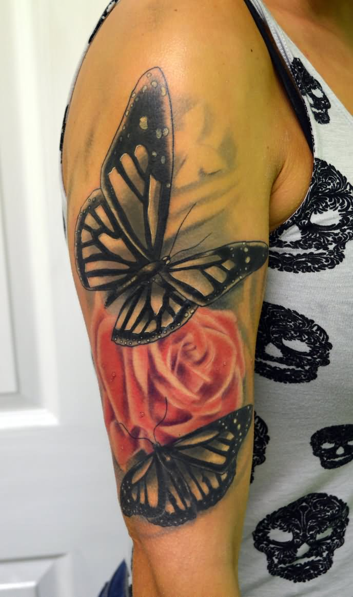 d10e1f45b Nice Red Rose And Grey Butterfly Tattoo On Half Sleeve
