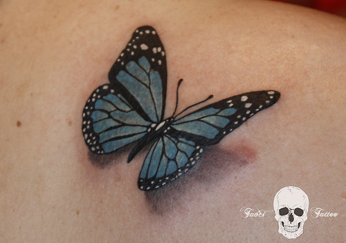 Realistic 3D Green Butterfly Tattoo