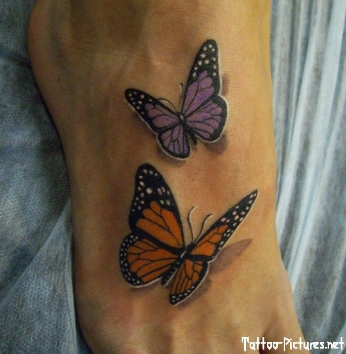 Realistic 3D butterflies tattoo on foot