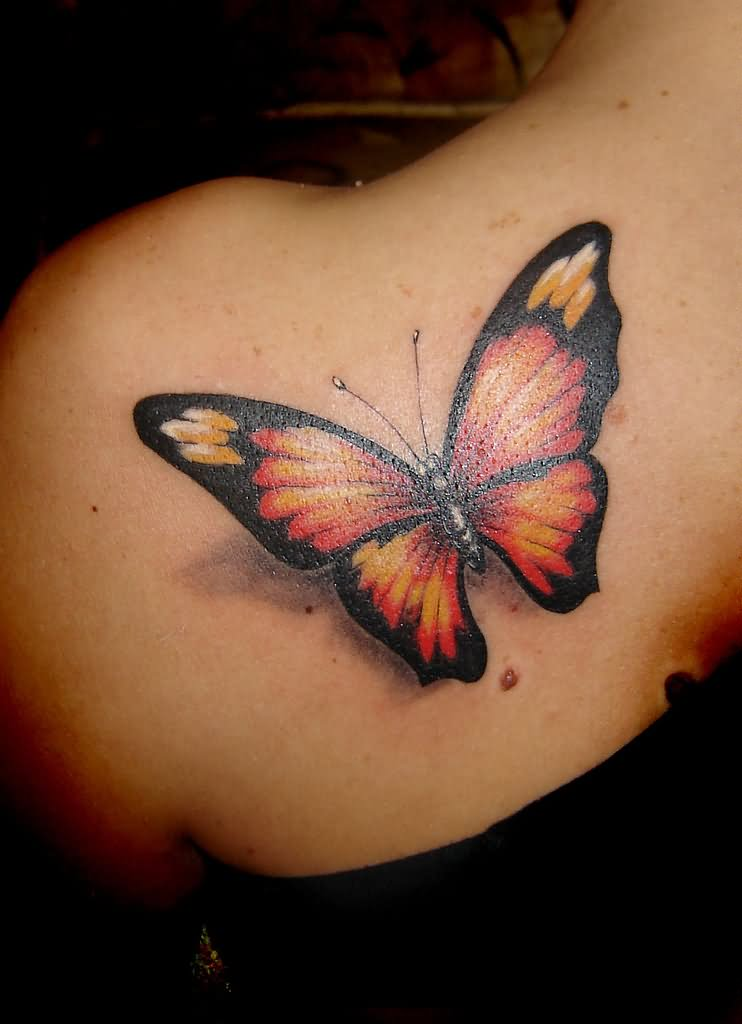 Realistic Black and Orange Butterfly Tattoo on Left Back Shoulder