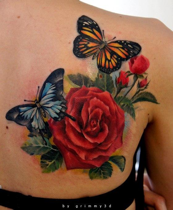 37+ Inspiring Butterfly And Rose Tattoos