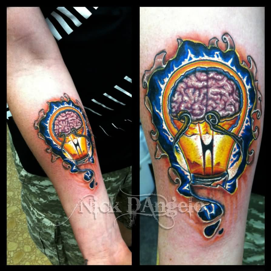 Ripped Skin Colorful Brain Bulb Tattoo On Forearm By