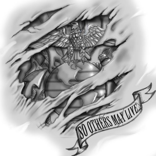 amazing marine logo tattoo stencil by josie hines. Black Bedroom Furniture Sets. Home Design Ideas