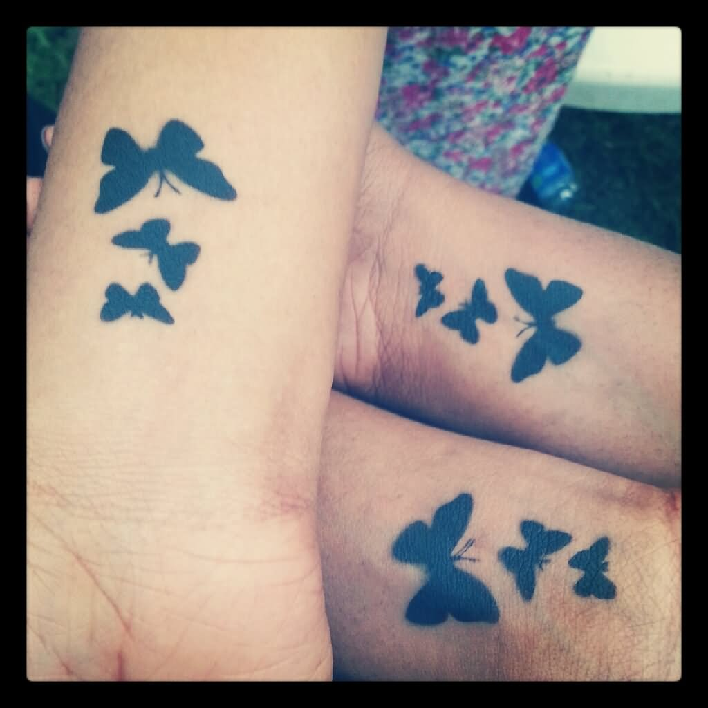 43 awesome butterfly tattoos on wrist for Female silhouette tattoo