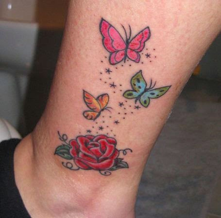 37 inspiring butterfly and rose tattoos. Black Bedroom Furniture Sets. Home Design Ideas