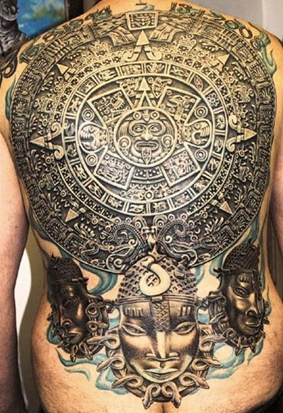 7174306bd3643 3D Aztec Sun Tattoo On Man Full Back