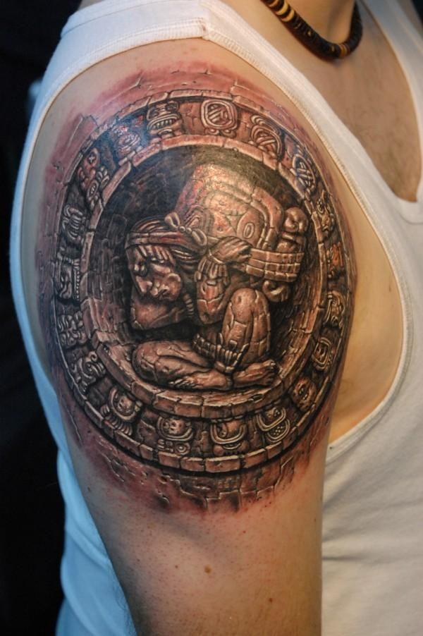 5caf4d47ba2ed 3D Aztec Tattoo On Man Right Shoulder