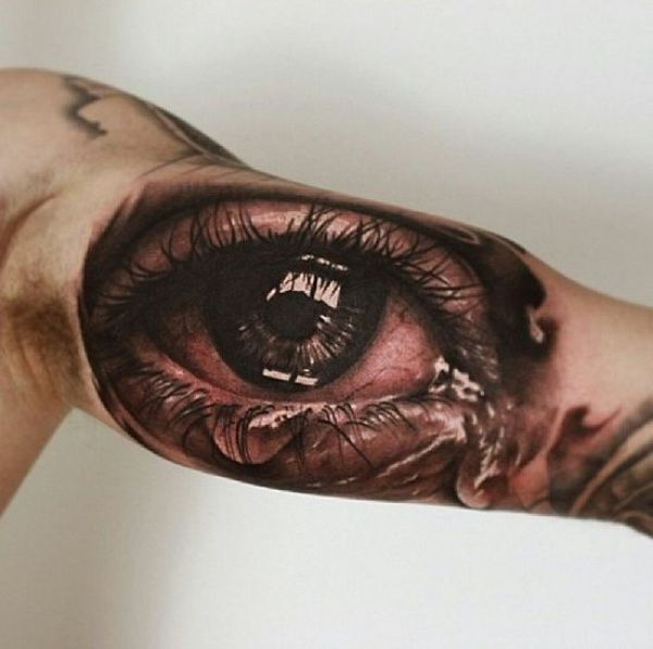 3D Crying Eye Tattoo On Bicep