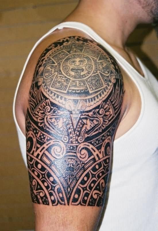 a50722c88 Amazing Aztec Sun Tattoo On Man Right Shoulder