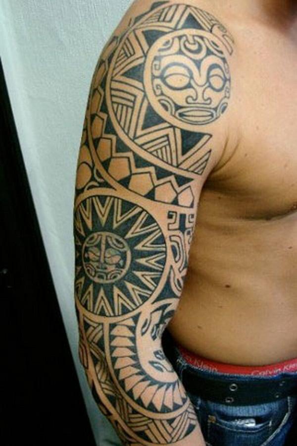 Amazing Black Aztec Sun Tattoo On Man Right Half Sleeve