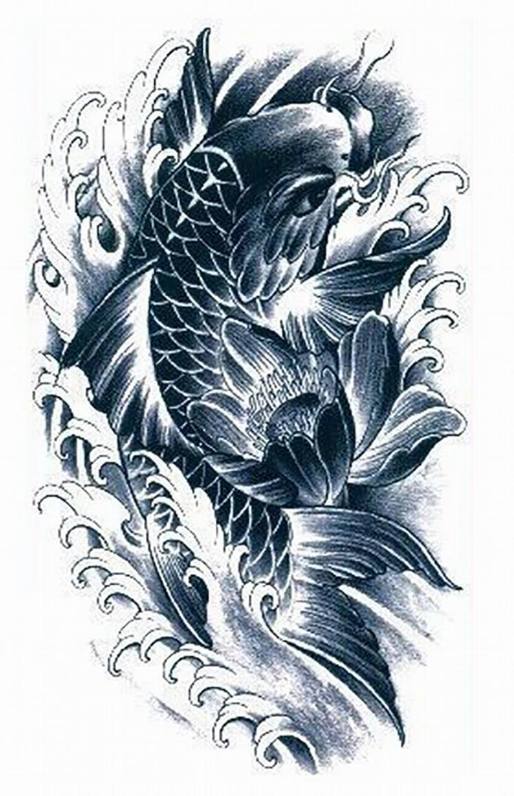 18 wonderful koi tattoo designs and ideas for Black coy fish