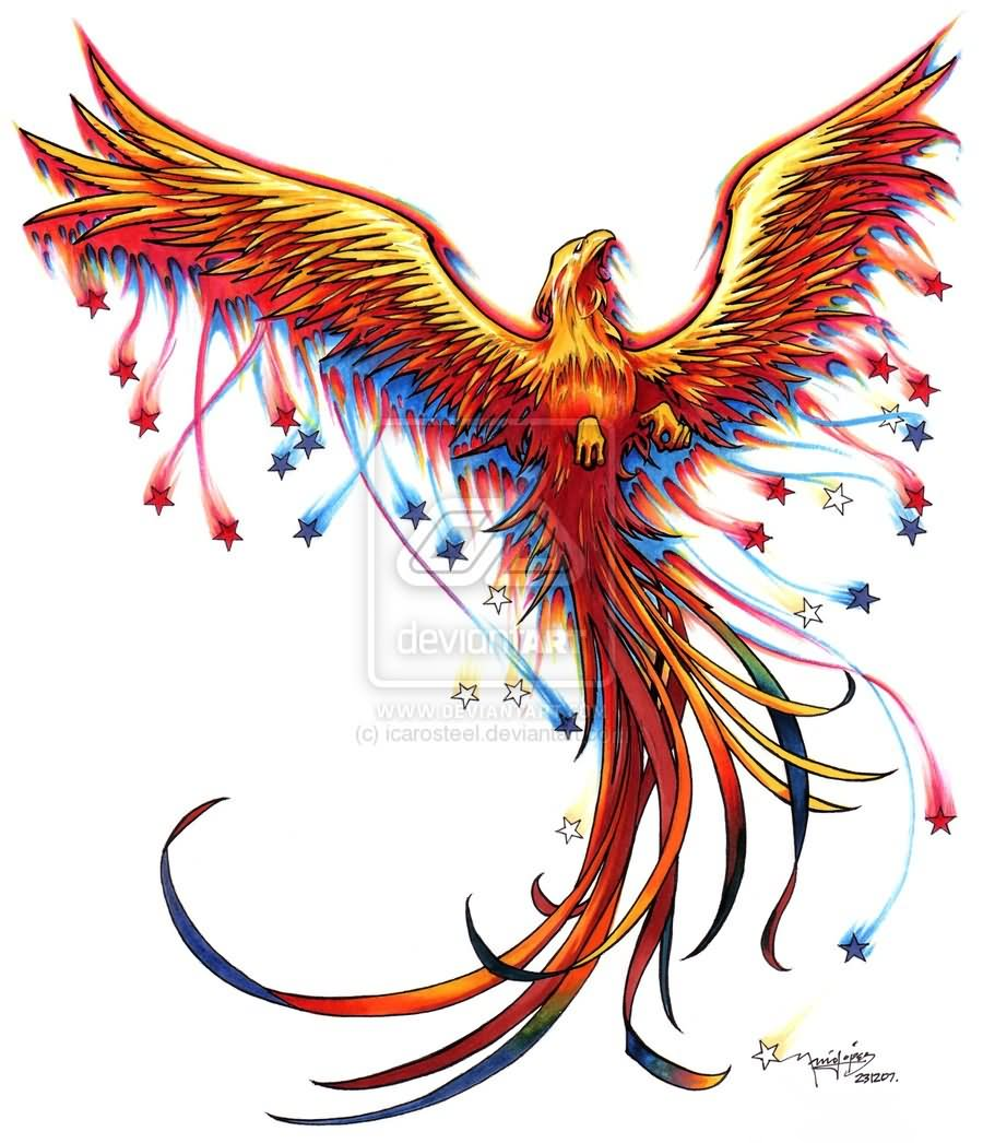 Colorful phoenix tattoo designs - Awesome Colorful Flying Phoenix Tattoo Design By Mario
