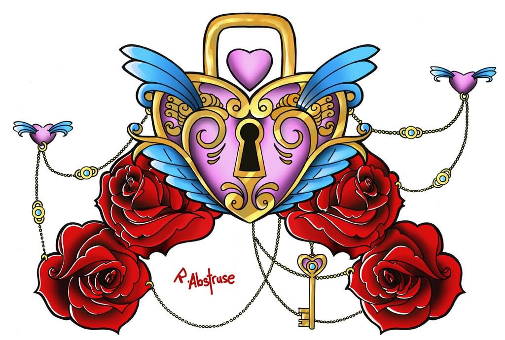 awesome colorful heart shape lock and key with roses