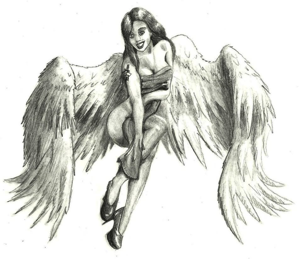 23f3b139b1171 Awesome Pin Up Angel Tattoo Design By Nathan