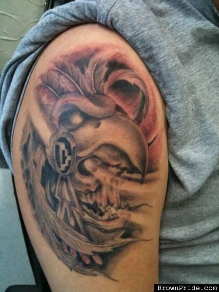 aztec warrior historical tattoo on shoulder by warvox. Black Bedroom Furniture Sets. Home Design Ideas
