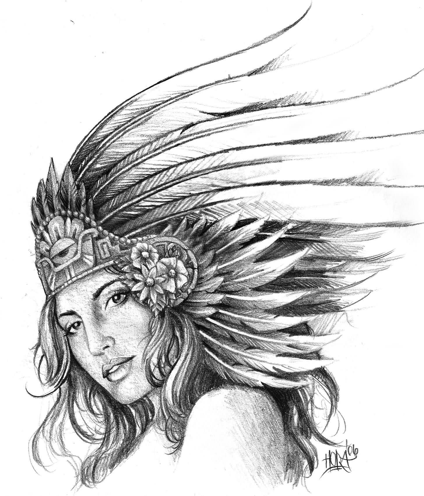 D42d4f004e09 Wide Range Later Aztec Warrior Girl Tattoo Imclao Com