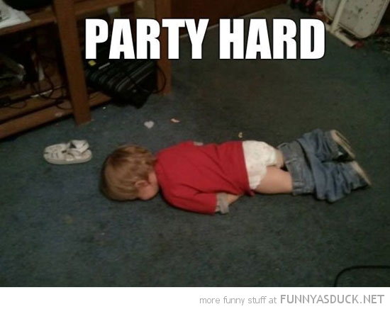 baby lying down floor party hard funny picture
