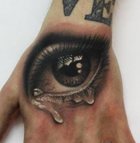 Black And Grey 3D Crying Eye Tattoo On Hand