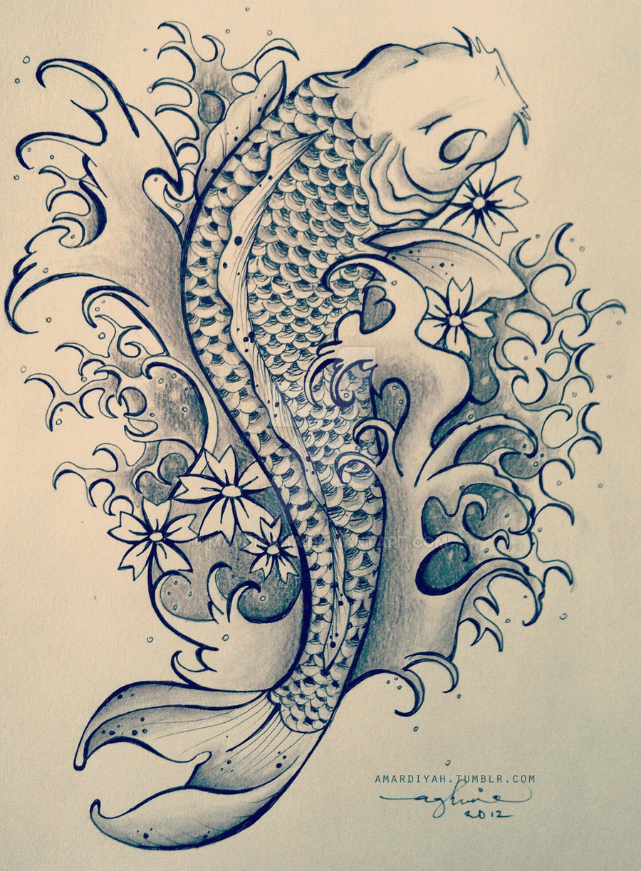 Black and grey koi tattoo design by aghnia mardiyah for Koi fish black and grey