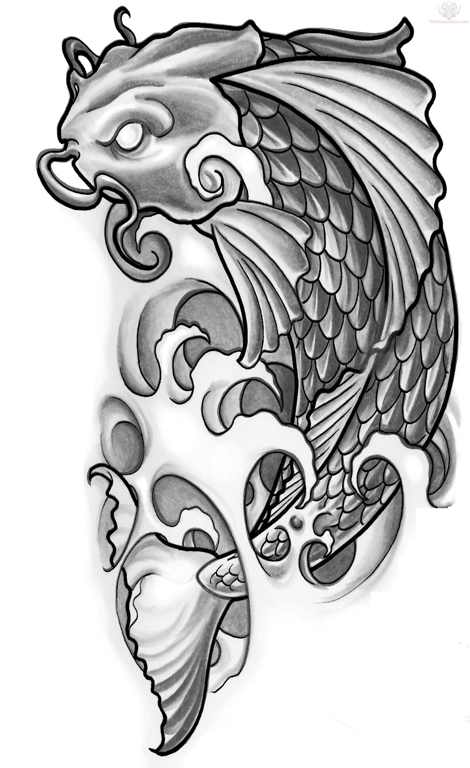 18 wonderful koi tattoo designs and ideas for Koi fish black and grey