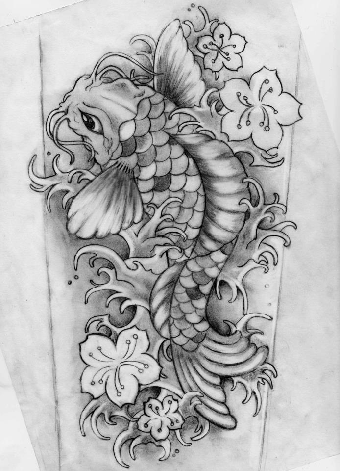 red and black koi tattoo design by gaikotsu91. Black Bedroom Furniture Sets. Home Design Ideas
