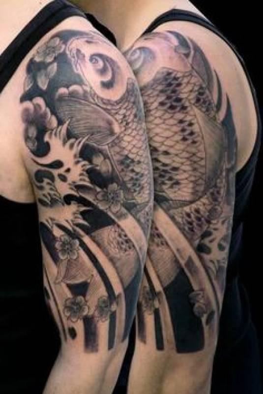 24 incredible koi tattoos ideas for Koi fish tattoo black and grey