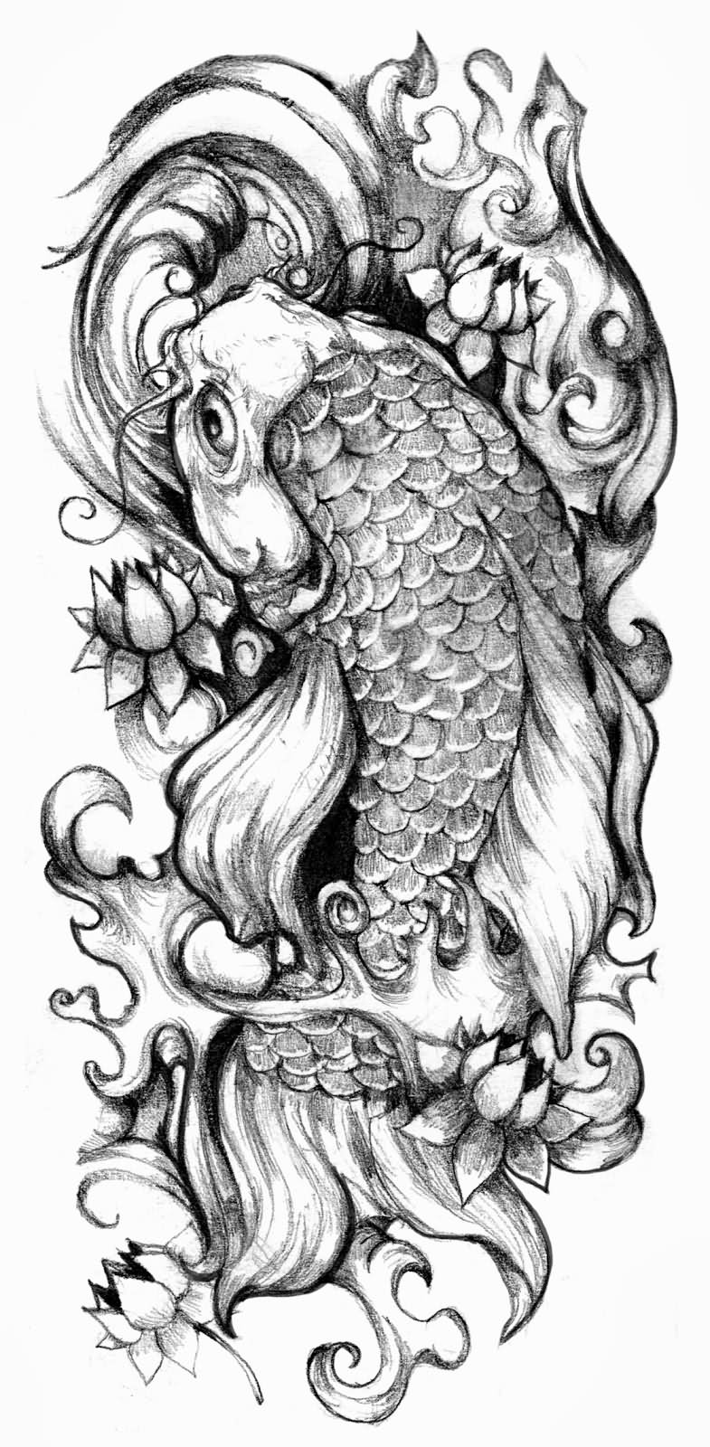 Black And Grey Koi With Lotus Flowers Tattoo Design By Cris Luspo