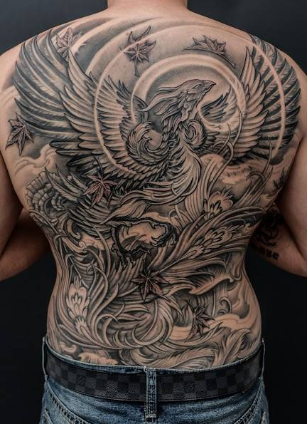 Black And Grey Phoenix Tattoo On Man Full Back By Winson