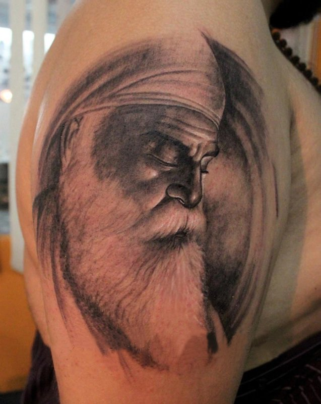 25c4e7226 Black And Grey Sikhism Guru Nanak Dev Ji Tattoo On Man Right Half Sleeve
