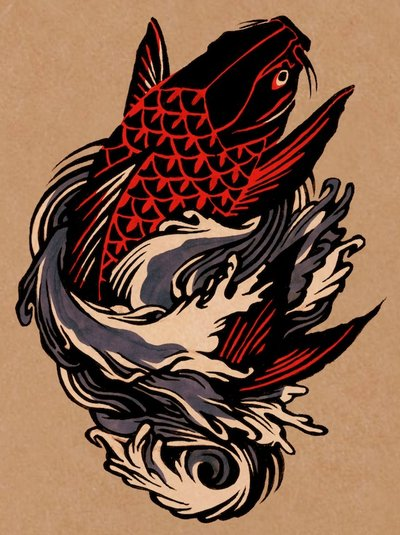 Black and red koi fish tattoo design by eleanor lutz for Black koi fish meaning