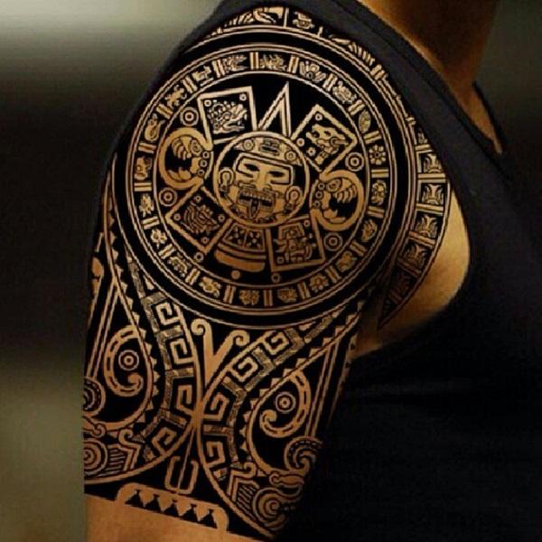 d2948c4ec3c48 Black Aztec Sun Tattoo On Man Right Shoulder