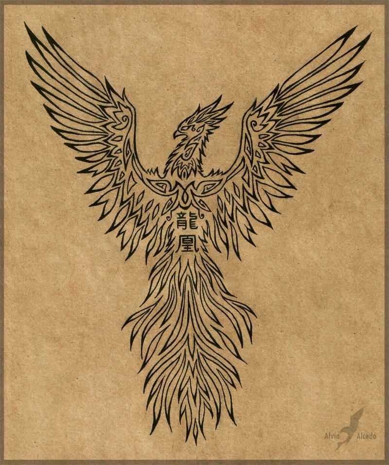 celtic phoenix tattoo design by babakch2. Black Bedroom Furniture Sets. Home Design Ideas