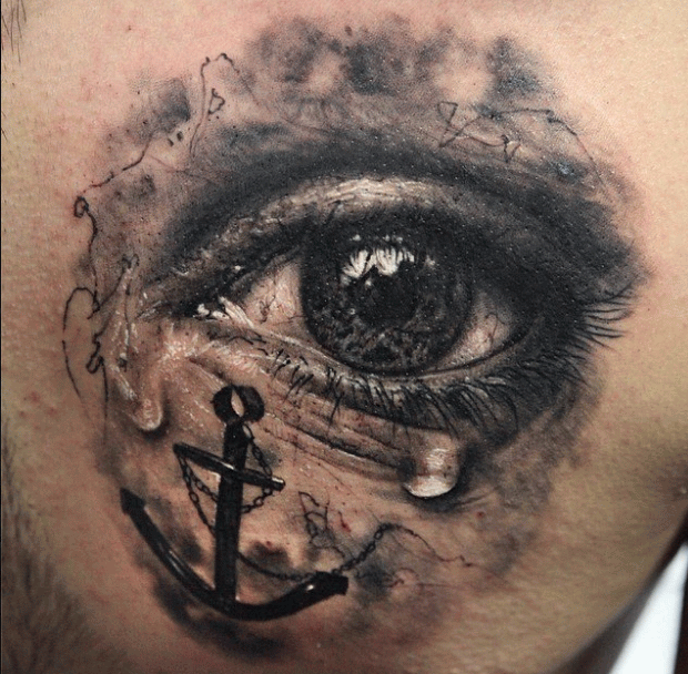 Black Ink Crying Eye With Anchor Tattoo Design By Seunghyun