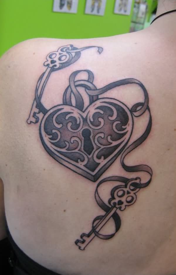 7 lock and key tattoo designs and ideas for Heart ribbon tattoo
