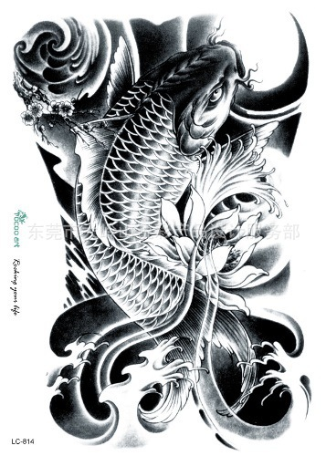Black and white koi fish drawings flowers for Black white koi