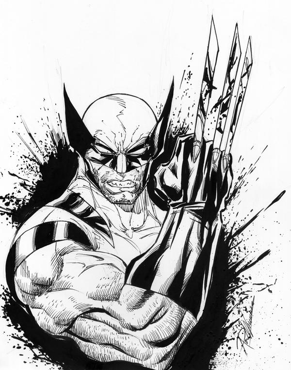 10 latest wolverine tattoo designs for Marvel sleeve tattoo black and white