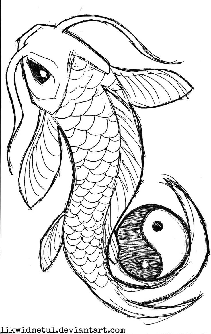 Black Koi With Yin Yang Tattoo Stencil By LikwidMetul